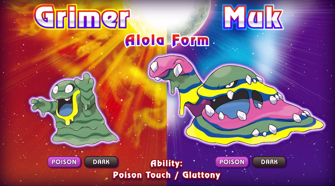 Pokemon Sun and Moon: New Evolutions, Alola Grimer, and Muk Revealed