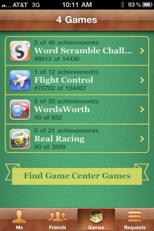 Apple Game Center Games List