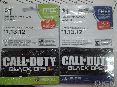 Black Ops 2 Pre Order Cards Show Up At Target