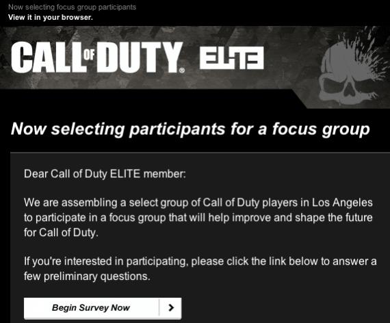 Call of Duty Focus Group Survey