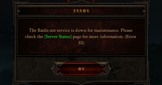 Error 33: Diablo 3 Unplayable For Maintenance