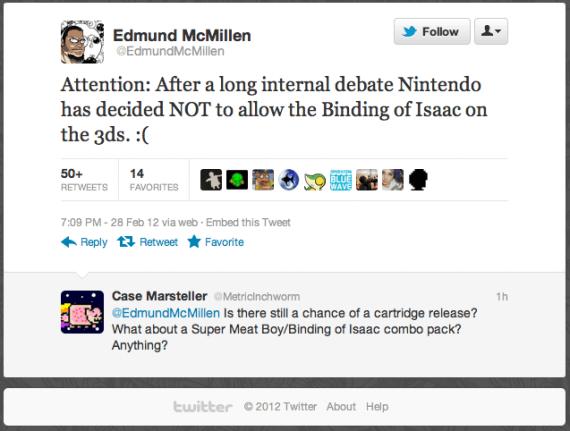 Edmund McMillen Binding of Isaac Twitter Shot Nintendo 3DS