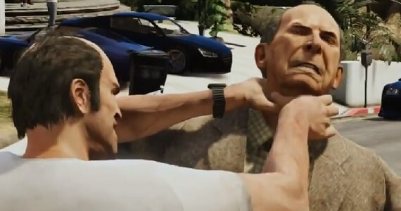 Grand Theft Auto 5 Trevor Choking Old Man