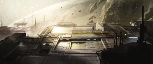 Halo 4 Warehouse Map Concept Art - Crater