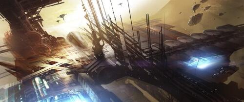 Halo 4 Warehouse Map Concept Art - Deep Space