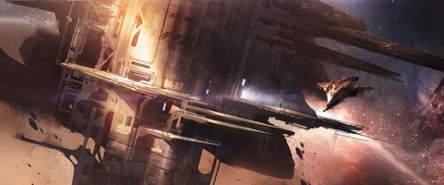 Halo 4 Warehouse Map Concept Art - Giant Pillar