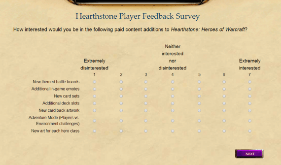 Hearthstone Survey Paid For Features