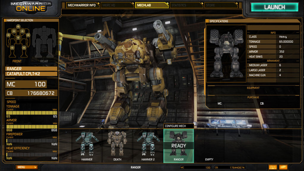 MechWarrior Online Gameplay, Screenshots and Mech Lab Details