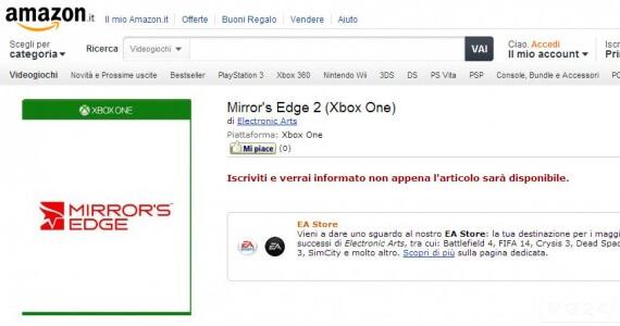 Mirrors Edge 2 Amazon Italy Product Page
