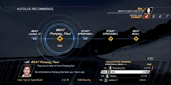 Need for Speed Hot Pursuit Autolog Feature