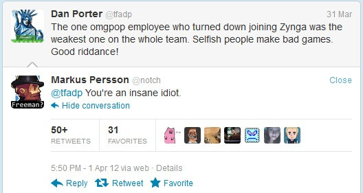 Notch and OMGPOP CEO Twitter Convo