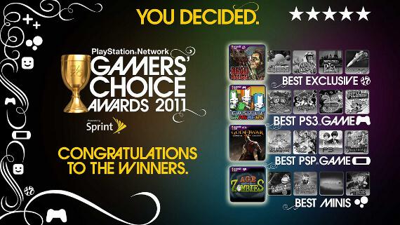 PSN Gamers Choice 2011 Winners