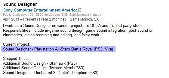 Playstation All-Stars Battle Royale PS Vita LinkedIn Project