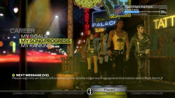 Rock Band 3 Career Mode Menu