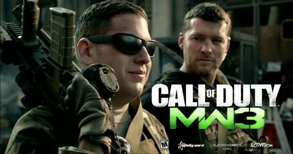 Sam Worthington and Jonah Hill in Modern Warfare 3 Commercial