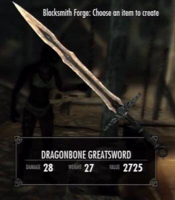 Skyrim Dawnguard Dragonbone Greatsword