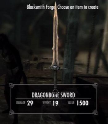 Skyrim Dawnguard Dragonbone Sword