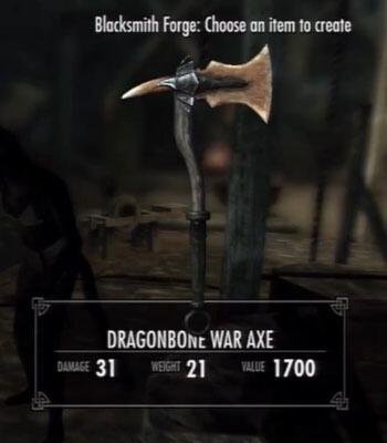 Skyrim Dawnguard Dragonbone War Axe