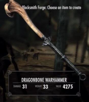 Skyrim Dawnguard Dragonbone Warhammer