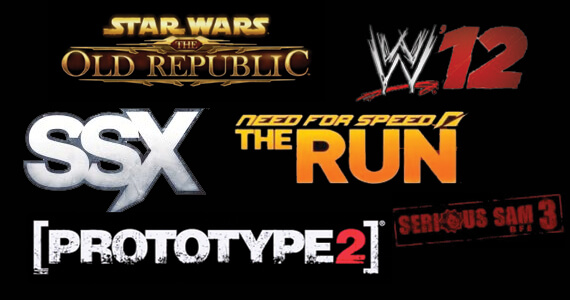 WWE 12, SSX, Prototype 2, Serious Sam 3, Need For Speed The Run, and Star Wars The Old Republic Trailers