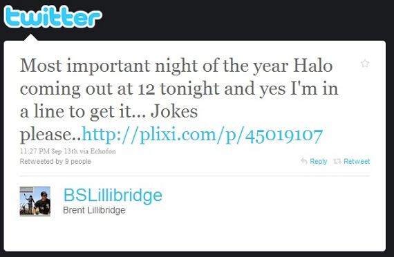 brent lillibridge avoids sleep to get Halo Reach