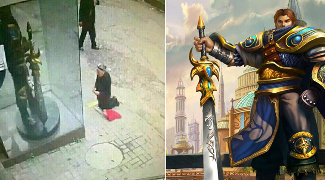 Elderly Woman Accidentally Prays to Gaming Statue