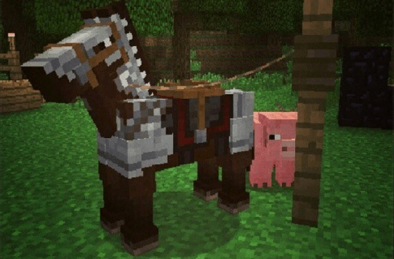 A Minecraft horse wearing armor