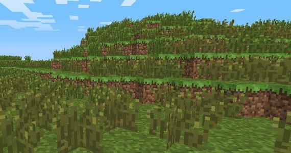 Minecraft featuring new tall grass and dead shrubs.