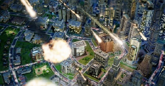 A meteor strike in SimCity